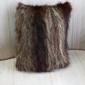 Genuine Raccoon/Coyote Fur Throw Pillow